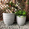 DurX-litecrete Lightweight Concrete Rough Surface Light Grey Planter-Round – Set of 2 2