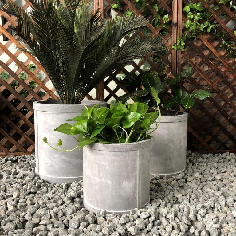 DurX-litecrete Lightweight Concrete Cylinder Light Grey Planter