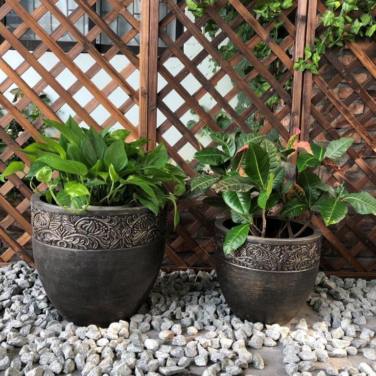 DurX-litecrete Lightweight Concrete Round Fancy Rim Wash Bronzewash Planter - Set of 2