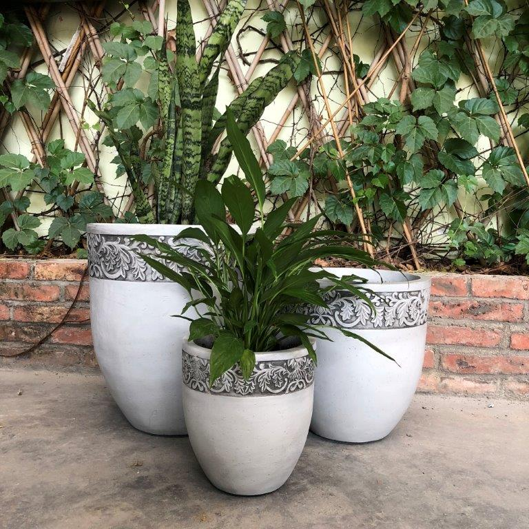 DurX-litecrete Lightweight Concrete Tall Fancy  Rim Planter Light Grey Planter - Set of 3