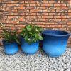 DurX-litecrete Lightweight Concrete Tall Bell Blue Planter – Set of 3 2