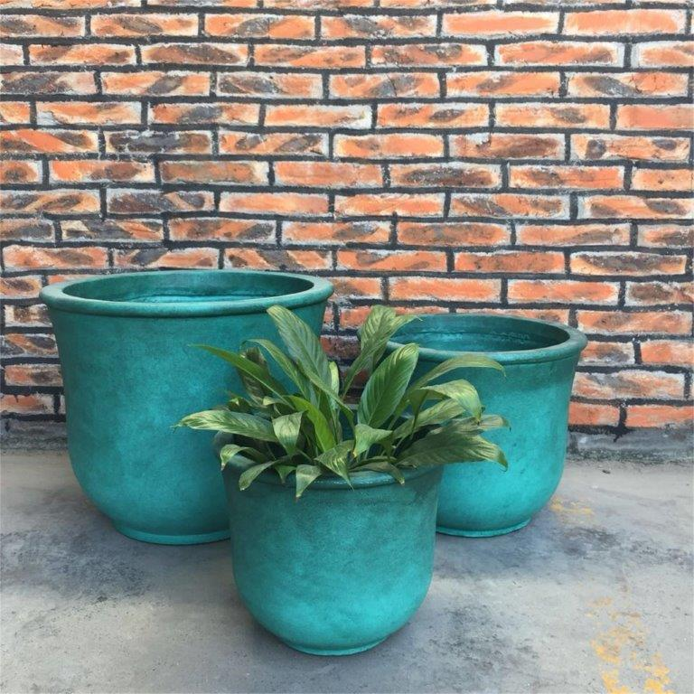 DurX-litecrete Lightweight Concrete Tall Bell Green Planter - Set of 3