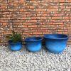 DurX-litecrete Lightweight Concrete Low Bell Blue Planter – Set of 3 2