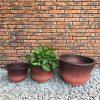 DurX-litecrete Lightweight Concrete Low Bell Red Planter – Set of 3 2