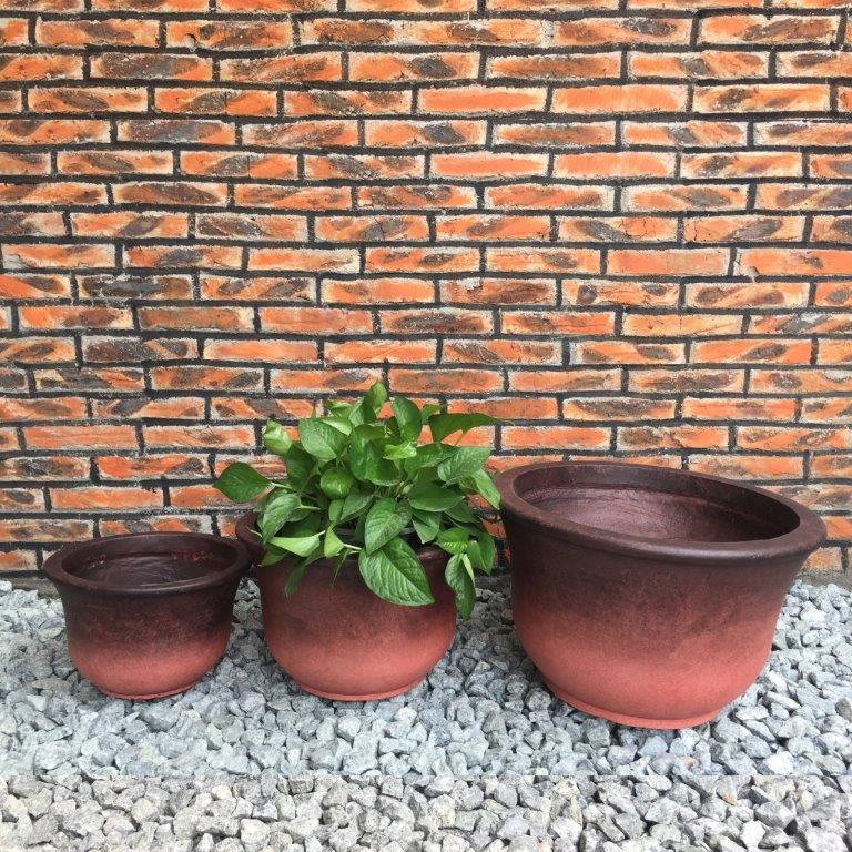 DurX-litecrete Lightweight Concrete Low Bell Red Planter - Set of 3