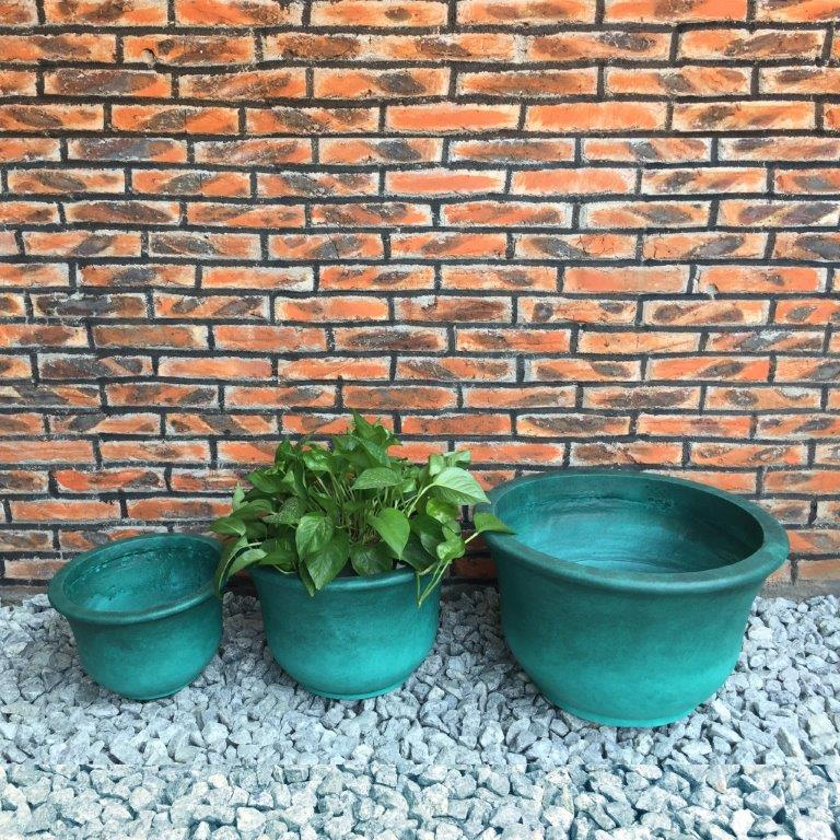 DurX-litecrete Lightweight Concrete Low Bell Green Planter - Set of 3