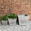 DurX-litecrete Lightweight Concrete Square Leaf Light Grey Planter – Set of 3 2