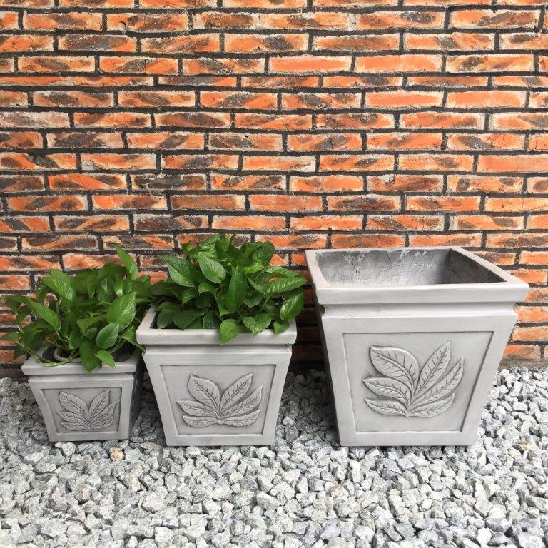 DurX-litecrete Lightweight Concrete Square Leaf Light Grey Planter - Set of 3