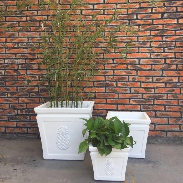 DurX-litecrete Lightweight Concrete Square pineapple Light Cream Planter - Set of 3