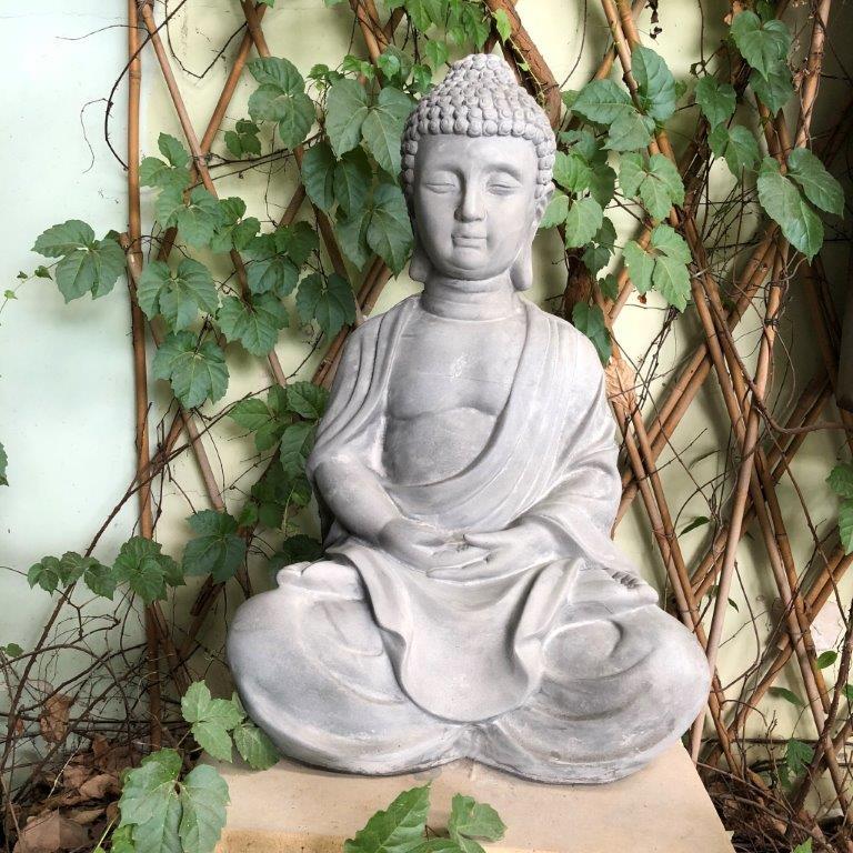 DurX-litecrete Lightweight Concrete Traditional Buddha Light Grey Sculpture