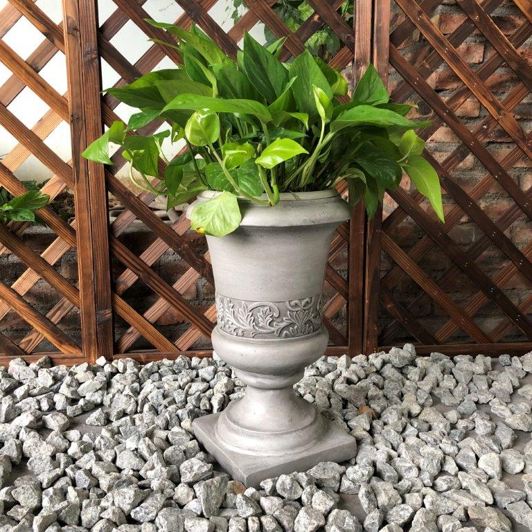 DurX-litecrete Lightweight Concrete Tall Fancy Urn Light Grey Planter-Small