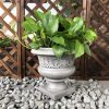DurX-litecrete Lightweight Concrete Low Fancy Urn Light Grey Planter-Small 2