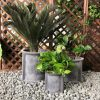 DurX-litecrete Lightweight Concrete Cilindro Dark Grey Planter – Set of 3 2