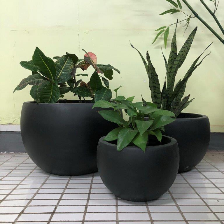 DurX-litecrete Lightweight Concrete Bowl Granite Planter - Set of 3