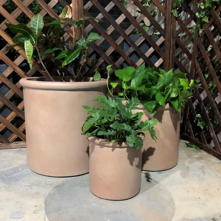 DurX-litecrete Lightweight Concrete Tall Rim Cylinder Light Brown Planter - Set of 3