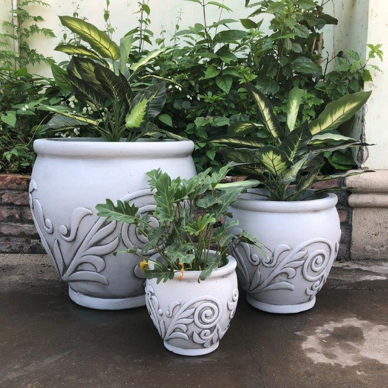DurX-litecrete Lightweight Concrete Fancy Scroll Light Grey Planters - Set of 3