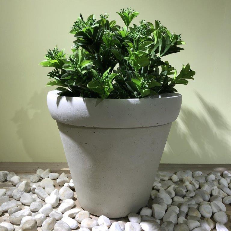 DurX-litecrete Lightweight Concrete Round Rim Wash White Planters