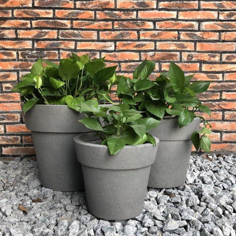 DurX-litecrete Lightweight Concrete Stackable Wash Grey Planter- Set of 3