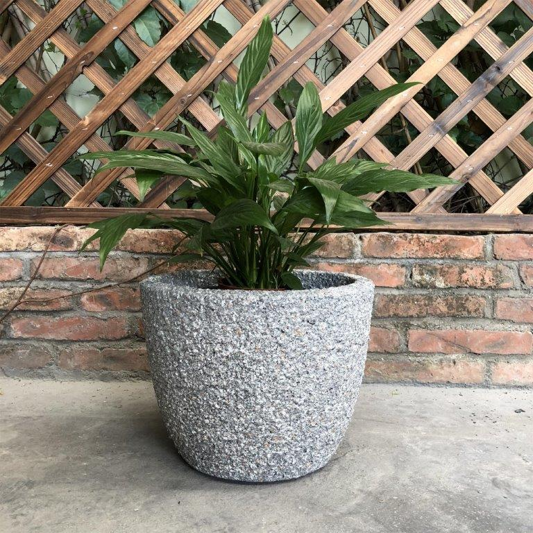 DurX-litecrete Lightweight Concrete Rough Round Orange Rock Color Planter