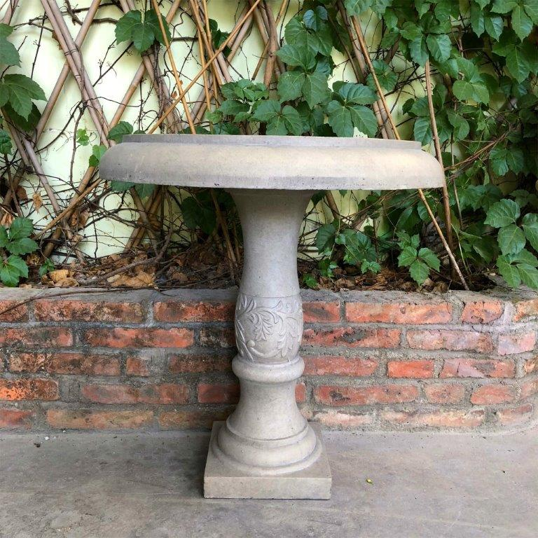 DurX-litecrete Lightweight Concrete Fancy Scroll Natural Concrete Color Birdbath