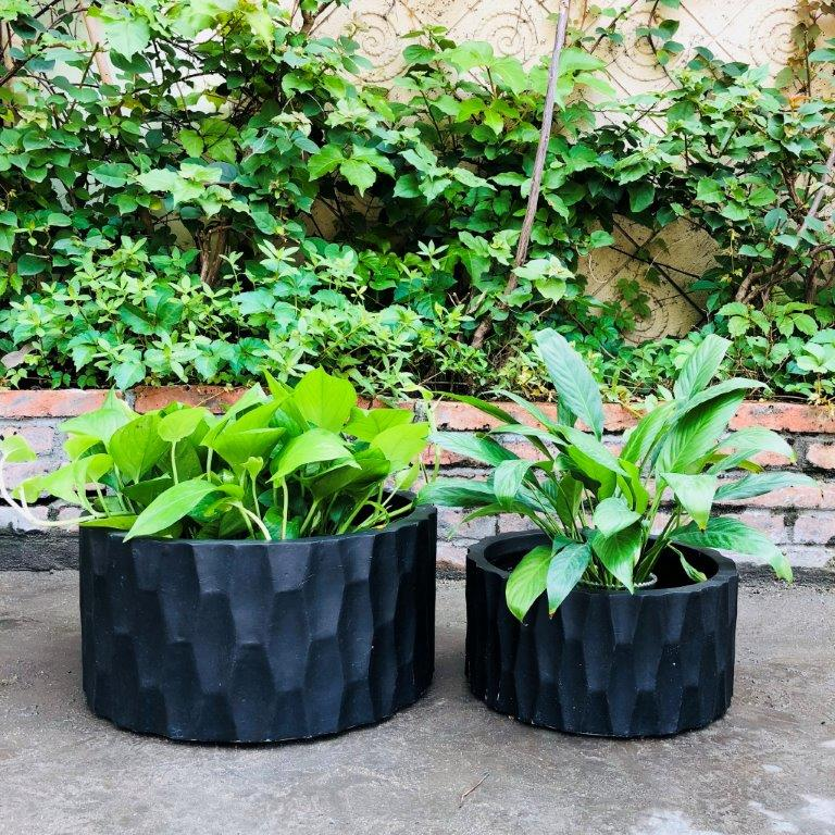 DurX-litecrete Lightweight Concrete Rough surface Cylinder Granite Planter 