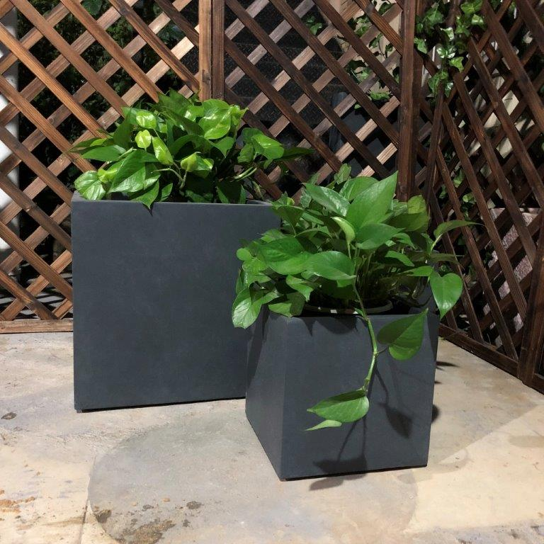 DurX-litecrete Lightweight Concrete Smooth Square Granite Planter - Set of 3