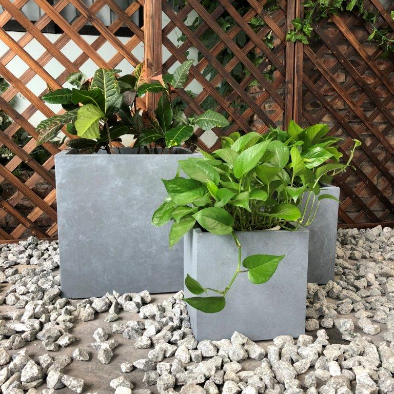 DurX-litecrete Lightweight Concrete Smooth Square Cement Planter - Set of 3