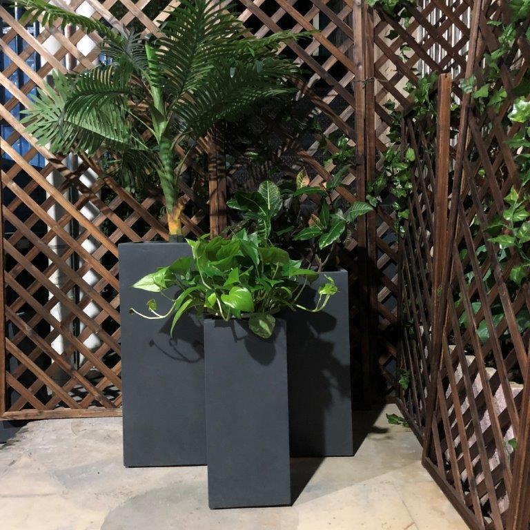 DurX-litecrete Lightweight Concrete Tall Rectangle Granite Planter - Set of 3