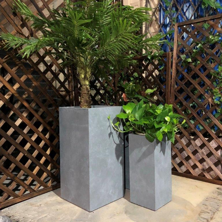 DurX-litecrete Lightweight Concrete Tall Rectangle Cement Planter - Set of 3