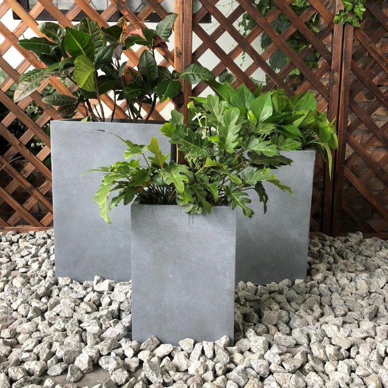 DurX-litecrete Lightweight Concrete Tall Square Cement Planter - Set of 3