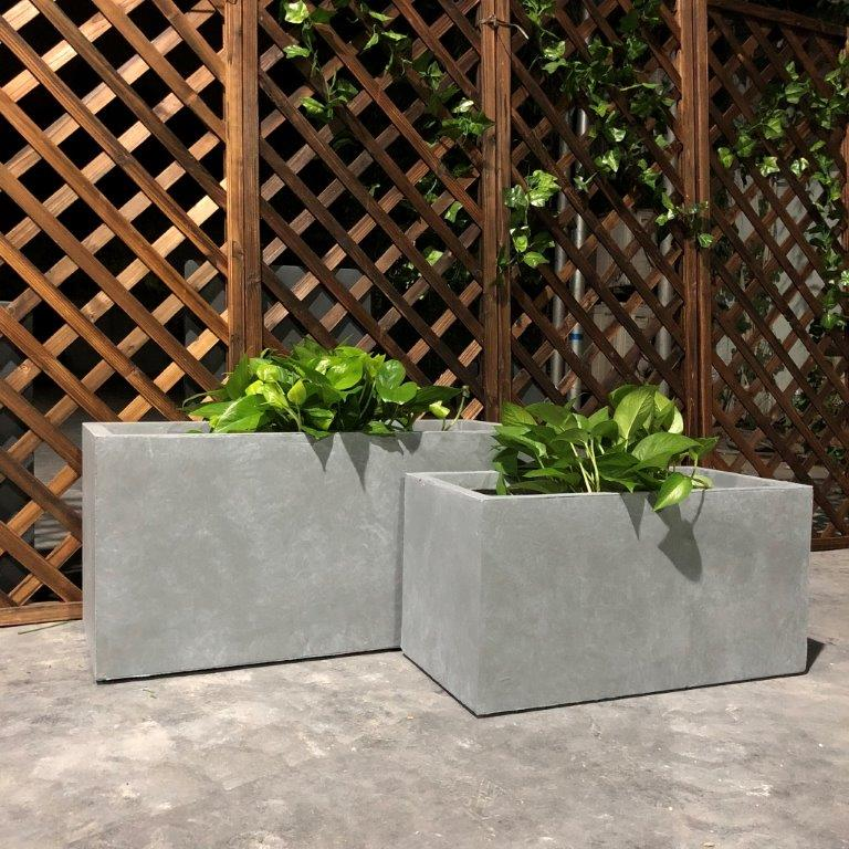 DurX-litecrete Lightweight Concrete Smooth Rectangle Cement Planter - Set of 3