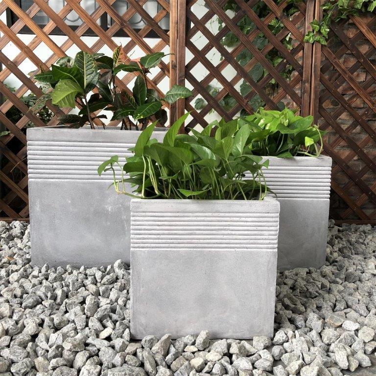 DurX-litecrete Lightweight Concrete Bamboo Light Grey Planter - Set of 3
