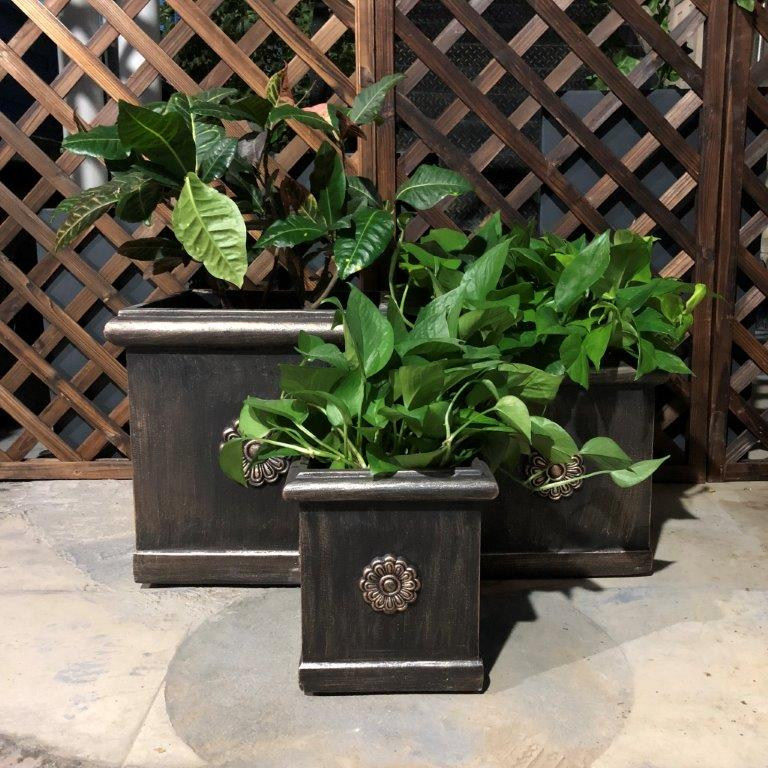 DurX-litecrete Lightweight Concrete Flower Medallion Square Bronze Planter - Set of 3
