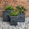 DurX-litecrete Lightweight Concrete Flower Medallion Square Antique Rust Planter – Set of 3 2