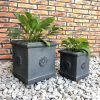 DurX-litecrete Lightweight Concrete Flower Medallion Square Antique Rust Planter – Set of 3 3