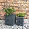 DurX-litecrete Lightweight Concrete Flower Medallion Square Antique Rust Planter – Set of 3 4