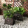 DurX-litecrete Lightweight Concrete Lion Head Square Bronze Planter – Set of 3 3