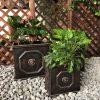 DurX-litecrete Lightweight Concrete Lion Head Square Bronze Planter – Set of 3 4