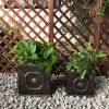 DurX-litecrete Lightweight Concrete Lion Head Square Bronze Planter – Set of 3 5