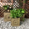 DurX-litecrete Lightweight Concrete Lion Head Square Brownstone Planter – Set of 3 4