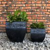 DurX-litecrete Lightweight Concrete Carved Granite Planter-Cube – Set of 2 2
