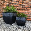 DurX-litecrete Lightweight Concrete Carved Granite Planter-Cube – Set of 2 3