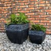 DurX-litecrete Lightweight Concrete Carved Granite Planter-Cube – Set of 2 4