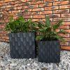 DurX-litecrete Lightweight Concrete Rough surface Granite Planter-Cube – Set of 2 2