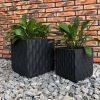 DurX-litecrete Lightweight Concrete Rough surface Granite Planter-Cube – Set of 2 3