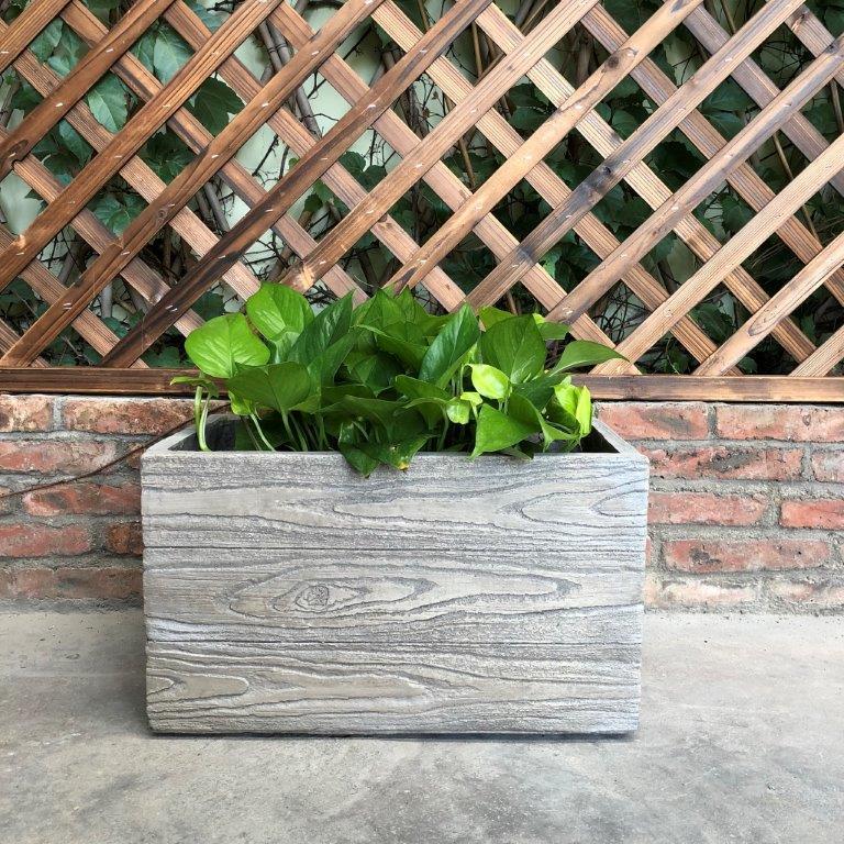 DurX-litecrete Lightweight Concrete Natural Wood Grain Box 11x19x11 Poplar Tree Color Planter