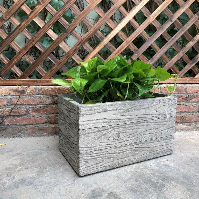 DurX-litecrete Lightweight Concrete Natural Wood Grain Box Antique Wood Color Planter