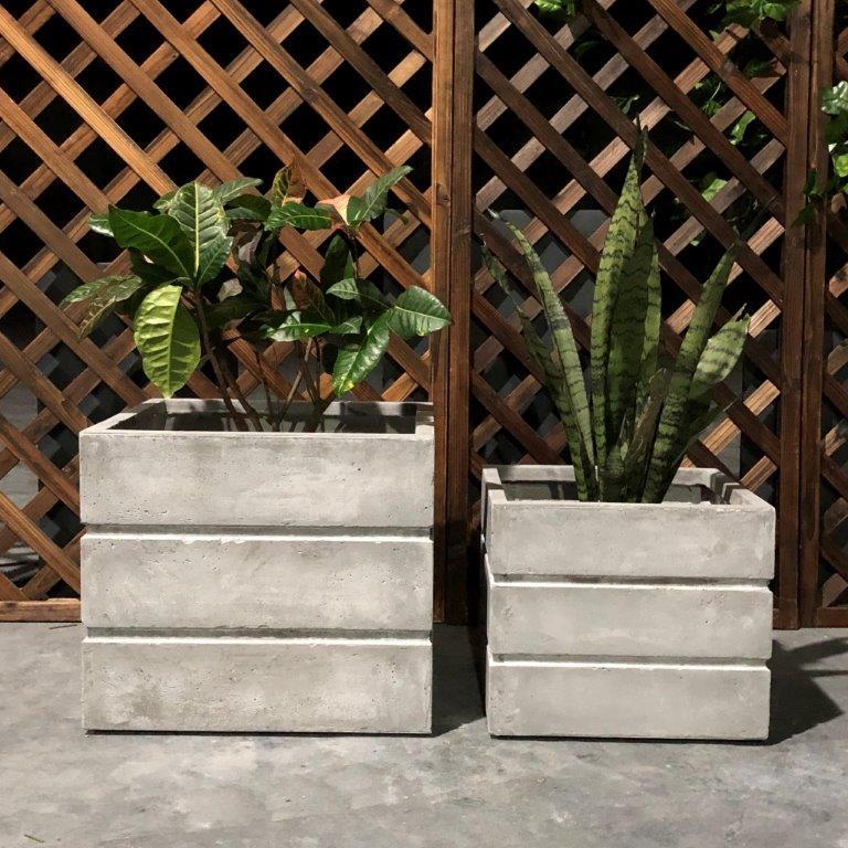DurX-litecrete Lightweight Concrete Crate Square Light Grey Planter - Set of 2