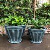 DurX-litecrete Lightweight Concrete Footed Flute Mossy Planters – Set of 2 2