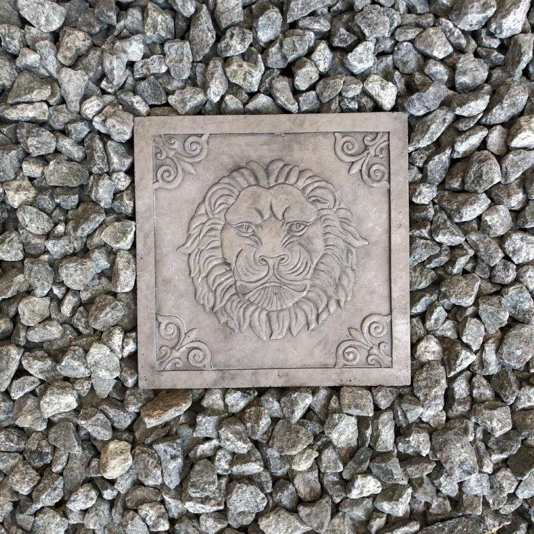 DurX-litecrete Lightweight Concrete Lion Square Natural Concrete Stepping Stone - Set of 2